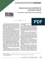 Importanata Personalitatii in Patologia Umana