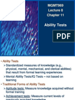 MGMT969 Spring2014 Lectures Lecture 8 Chapter 11 - Ability Tests