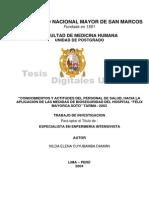 Tesis Conocimientos y Actitudes Del Personal de Salud Hacia La Aplicacion de Las Medidas de Bioseguridad Del Hospital Felix Mayorca Soto.tarma 2003