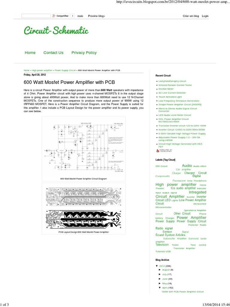 Rangkaian Power Amplifier Mosfet
