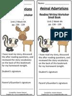 2 4a bookmark  animal adaptations