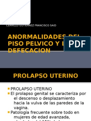 Grados de prolapso uterino pdf