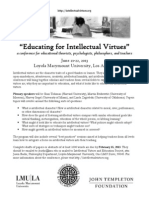 Educating for Intellectual Virtues