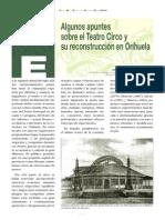 Algunos apuntes sobre el Teatro Circo y su reconstrucción en Orihuela. Antonio José Mazón Albarracín.