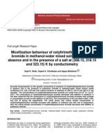 Micellization behaviour of cetyltrimethylammonium         bromide in methanol-water mixed solvent media in absence and in the  presence of a salt at (308.15, 318.15 and 323.15) K by         conductometry