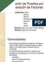 Valoración de Puestos Por Comparación de Factores