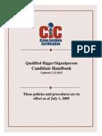 CICert - Qualified Rigger - Signalperson Candidate Handbook - 2013