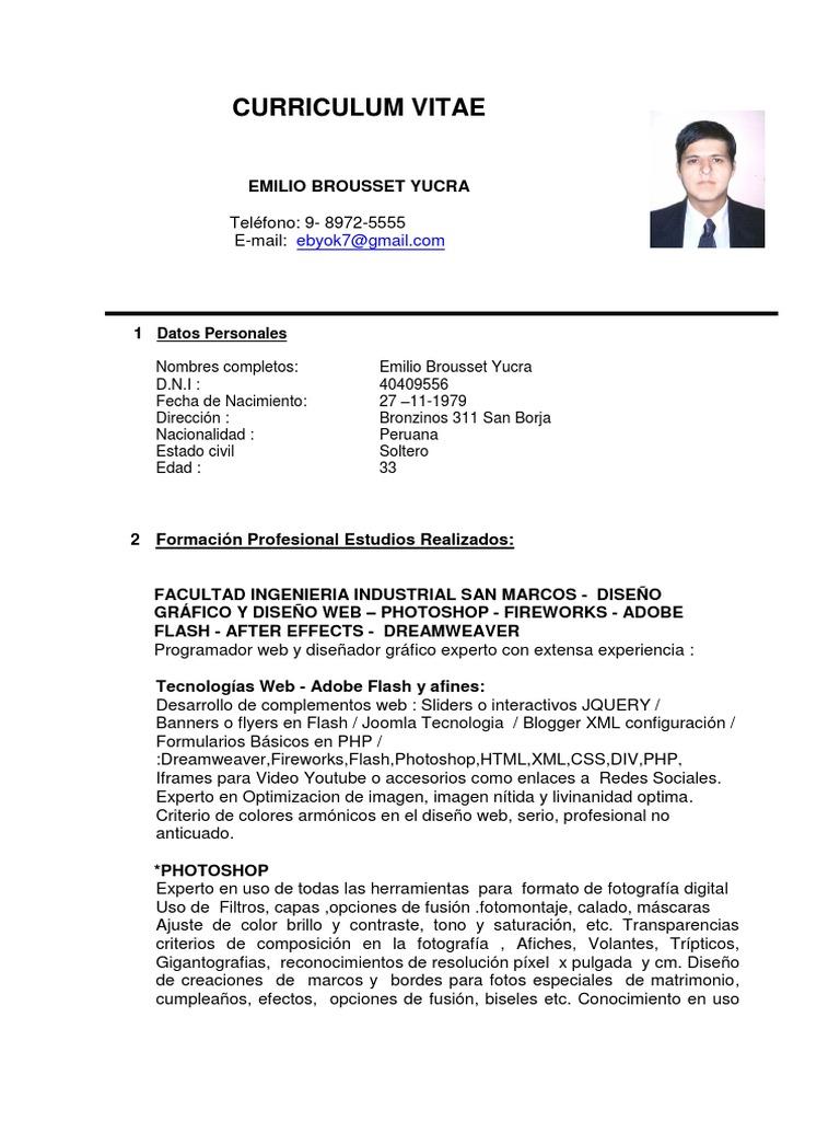 Contemporáneo Formato De Curriculum Vitae Php Programador Adorno ...
