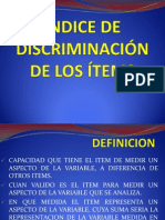 Índice de Discriminación de Los Ítems