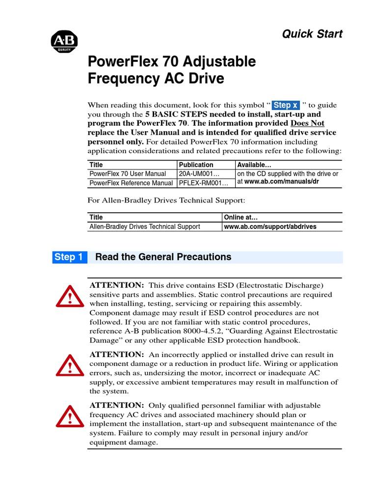 powerflex 70 quick start guide electromagnetic compatibility rh scribd com allen bradley powerflex 70 manual portugues pdf allen bradley powerflex 70 manual español