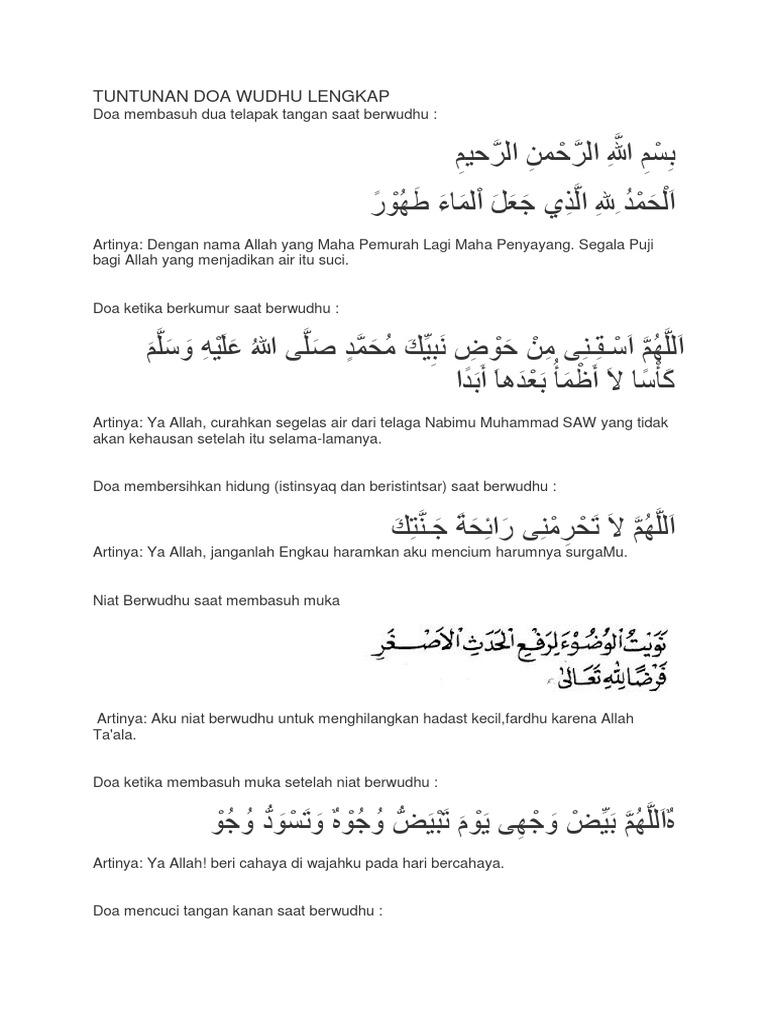 Tuntunan Doa Wudhu Lengkap