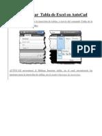 Como Inertar Tabla de Excel en AutoCad