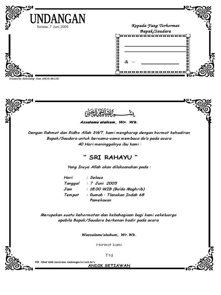 Download Undangan Tahlil 40 Hari Ms Word Undangan Wallpaperzenorg