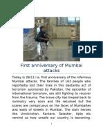 First Anniversary of 26 Nov