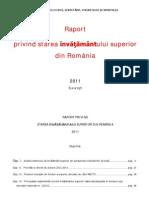 Raport Privind Starea Invatamantului Universitar Din Romania – 2011