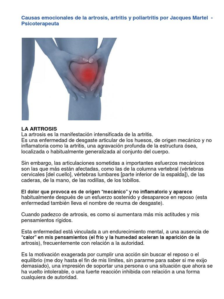 artrosis de rodilla causas emocionales