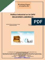 Política Industrial en la CAPV. RELACIONES LABORALES