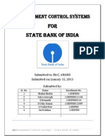 Management Control Systems for State Bank Of India