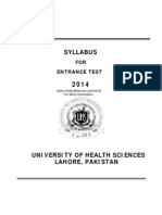 UHS MCAT Entry Test Syllabus 2014