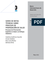 Series de Notas Técnicas Sobre Procesos de Priorización de Salud
