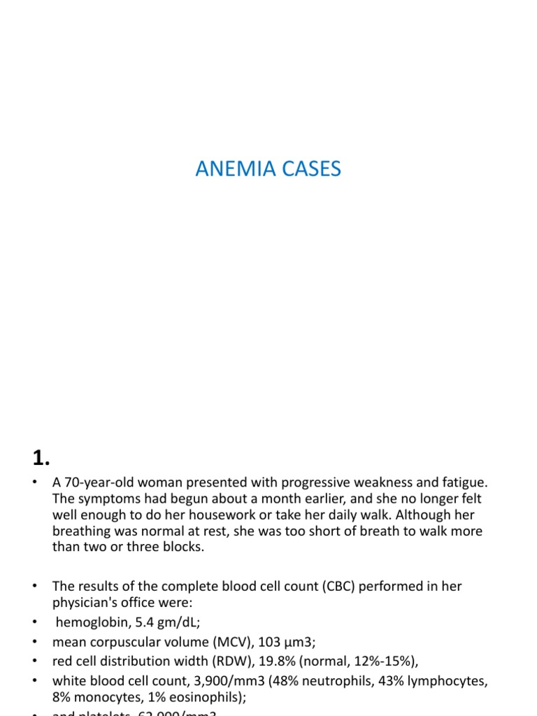 Anemia Cases Anemia Clinical Medicine