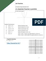 Graphing Quadratic Functions Videos