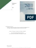 Acid Rain and Transported Air Pollutants