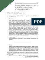 Velasco - Consecuencias personales en la ruptura de la vida laboral. El caso de Telefónica.