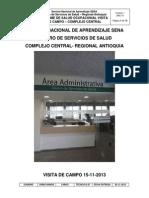 Informe Del Area de Salud Ocupacional Sede Central Noviembre 2013