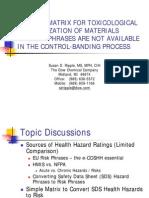 Simple Matrix - Toxicological Categorisation of Materials