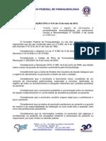 Res. CFFa n. 415-2012 Prontuarios