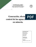Generación, Efectos y Control de Las Aguas Ácidas en Minería