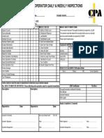 Excavator Check Sheet