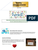 Announcements - June 29, 2014