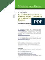 Idanetidad Narrtiva Ricoeur y Arendt 454