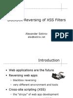 Blackbox Reversing of Xss Filters Slides
