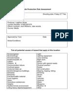 Media Production Risk Assessment111