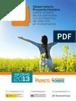Informe 2013 del Observatorio Proyecto Hombre sobre el Perfil de las Personas con problemas de adicción en tratamiento