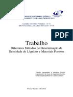 Diferentes Metodos de Medir Densidade de Liquidos e Materias Porosos