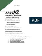 List of MBA Institutes in Ludhiana