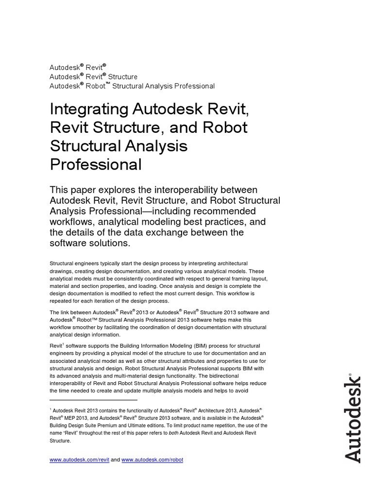 Linking Autodesk Revit Revit Structure and Robot Structural