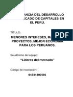 Importancia Del Desarrollo Del Mercado de Capitales en El Perú