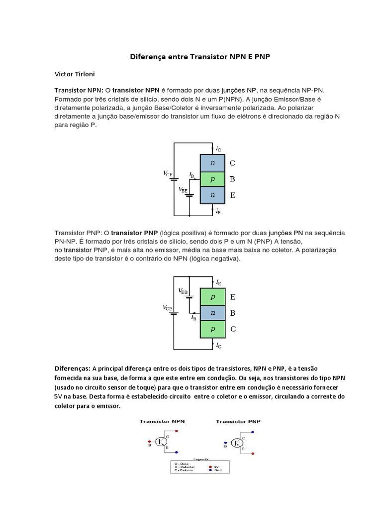 Circuito Transistor : Diferença entre transistor npn e pnp