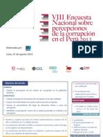 VIII Encuesta Nacional sobre percepción de la corrupción en el Perú 2013