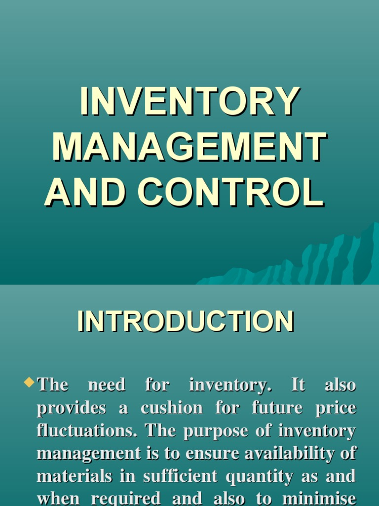 purpose of inventory management