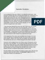 Kindergarten Newsletter Sep 09