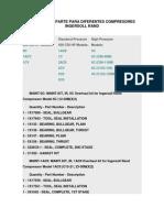 Numeros de Parte Para Diferentes Compresores Ingersoll Rand