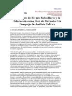 Estado Subsidiario y Educacion Como Bien de Mercado Jorge Nef
