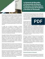 La Gerencia de Mercadeo y la Generacion de Nuevos Productos y Servicios frente a la actual escasez de Productos y Servicios en Venezuela