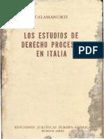 Calamandrei Piero Los Estudios de Derecho Procesal en Italia PDF